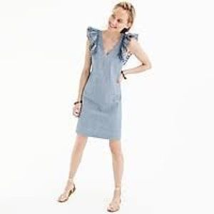 J. Crew Chambray ruffle-shoulder sheath dress